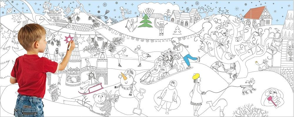 Новогодний плакат раскраска зимние