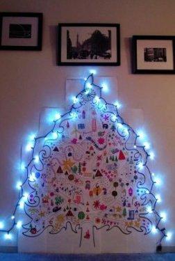Раскраска новогодней елки на стену