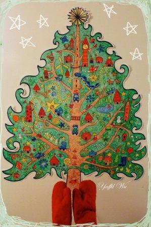 Раскраска елка на стену